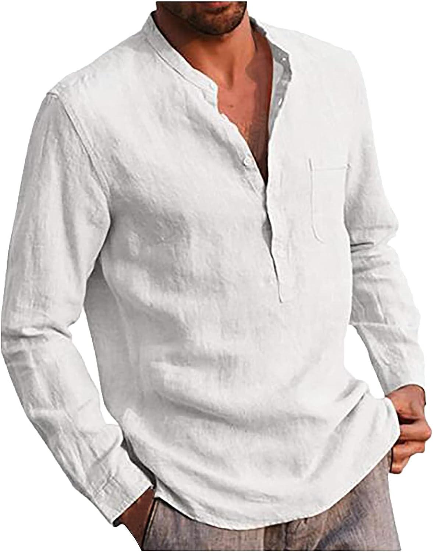 CofeeMO Bravetoshop Men's Cotton Linen Henley Shirt Casual Button Up Regular-Fit Long Sleeve Shirt