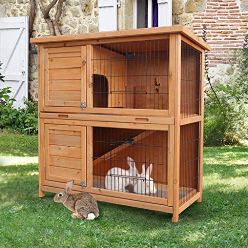Dergo Shipped from United States Dogs Kennel, Outdoor Wooden Rabbit Hutch Pet Cage with Run Asphalt Roof Bunny Animal House