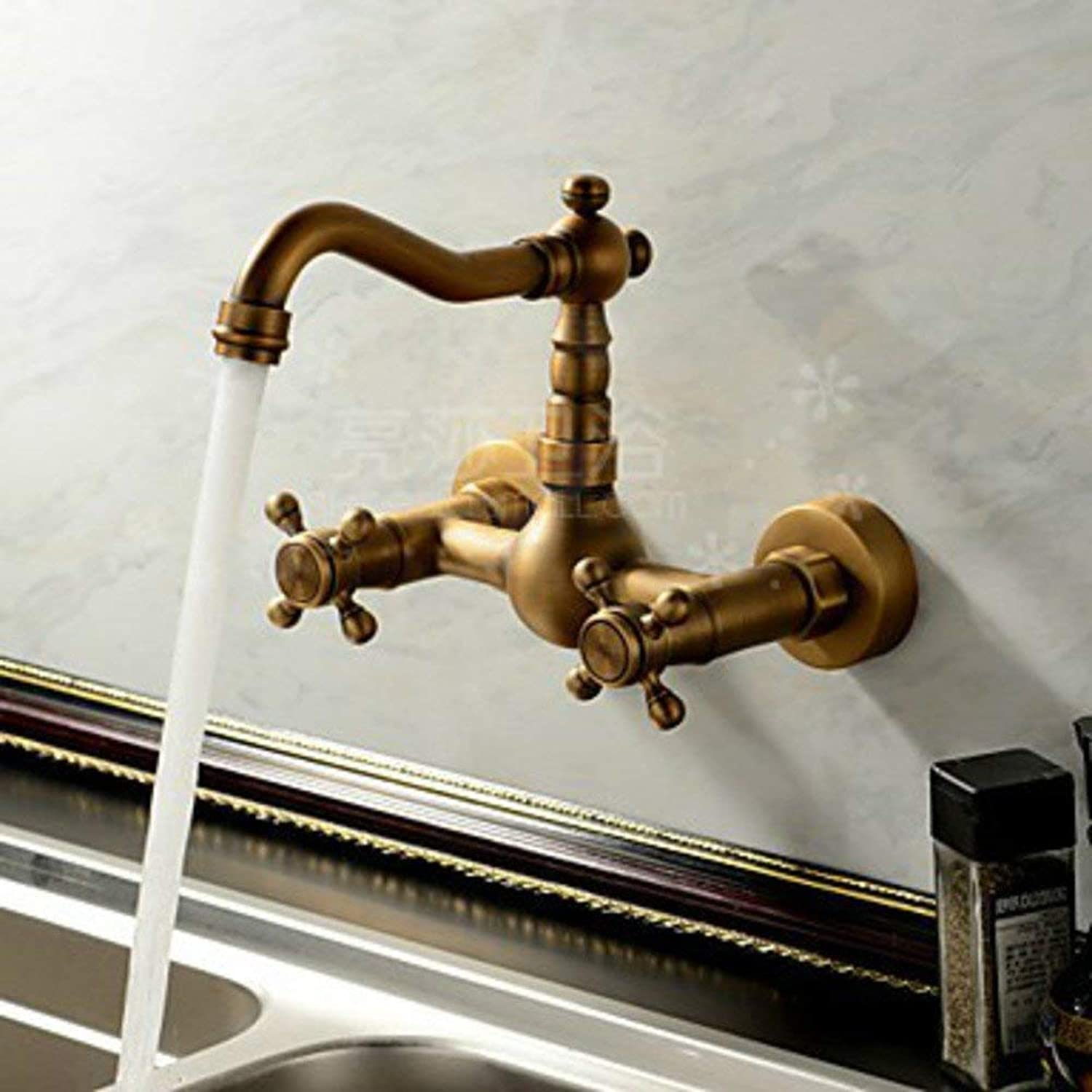 FuweiEncore Antique-wall kitchen faucet European-style all-copper hot and cold taps Sink faucet (color   -, Size   -)