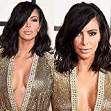 NiceToBuy Glueless Short Wavy Bob HairCut Lace Front Wig with Side Bangs Brazilian Virgin Human Hair Wigs for Women #1b Natural Black Color 8inch