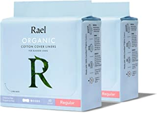 Rael Organic Incontinence Liners Regular - Organic Bladder Control Liners, 4-Layer Core Protection with Leak Guard Technol...