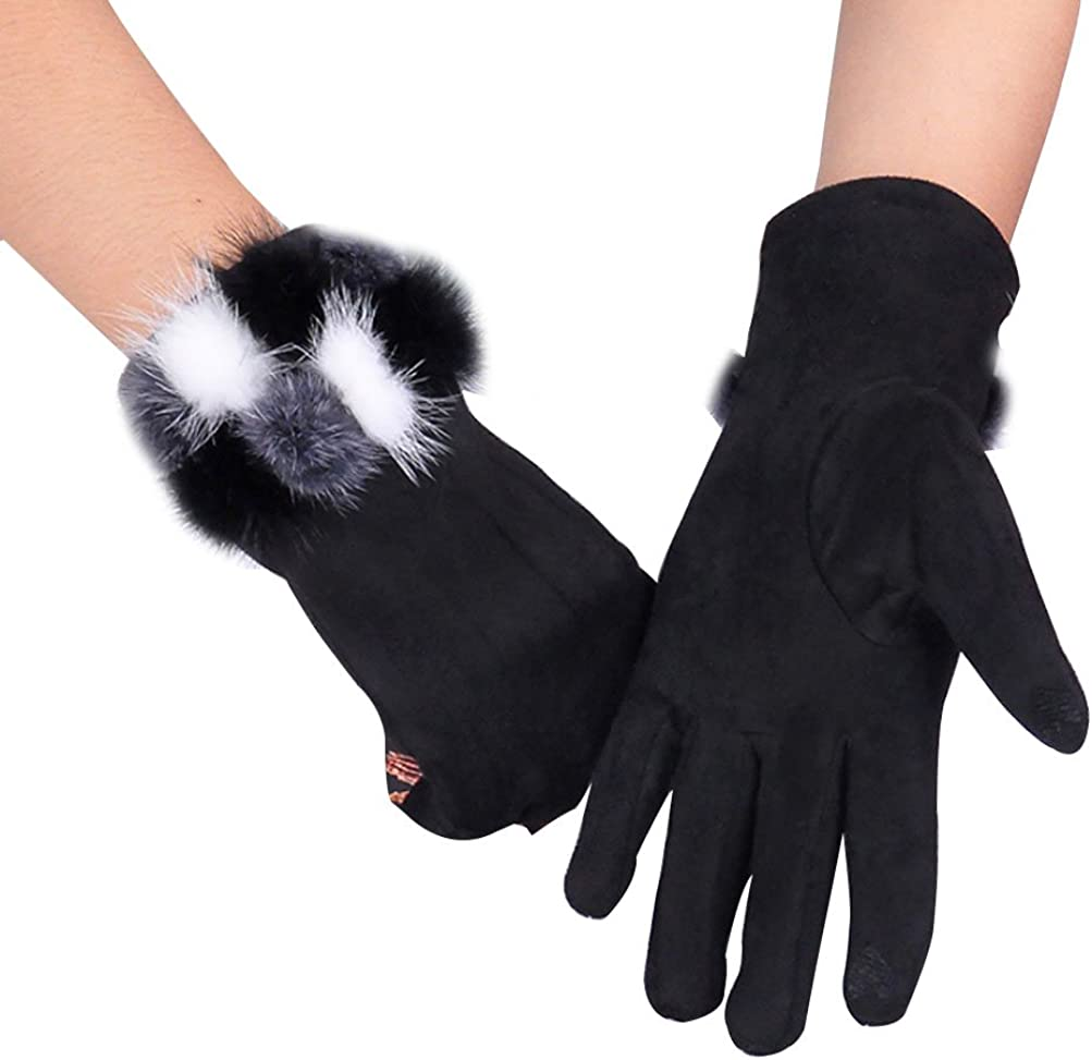 Winter Christmas Gift Gloves X-mas Woolen Fluffy Ball Touch Mittens for Women