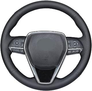 DIY Sew Black Microfiber Leather Car Steering Wheel Cover for 2018 2019 Toyota Camry / 2019 2020 Avalon / 2020 Corolla / 2019 RAV4 (Black Thread)