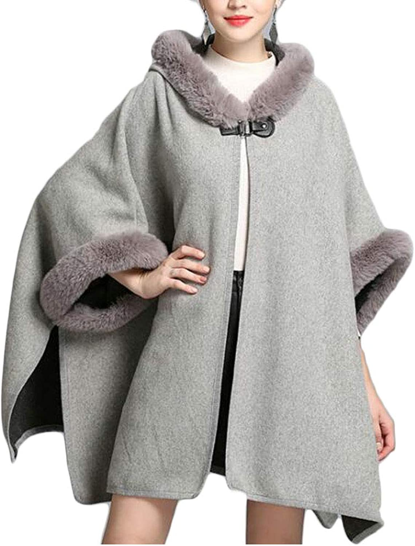 Pivaconis Women's Faux Fur Shawl Wraps Cloak Coat Poncho Cape Overcoat
