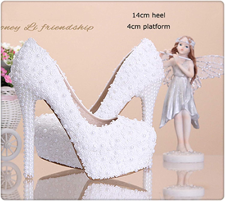 HCHBE& Women Fashion Sweet White red Flower Lace Platform High Heels Pearls Rhinestone Wedding shoes Bride Dress shoes White 14cm Heel 9.5
