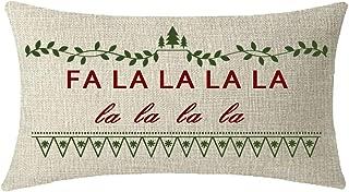 NIDITW Sister Gift Merry Christmas and Happy New Year FA La La La La Green Leaves Lumbar Waist Beige Cotton Burlap Linen Throw Pillowcase Cushion Cover Sofa Porch Decorative Rectangle 12x20 Inches