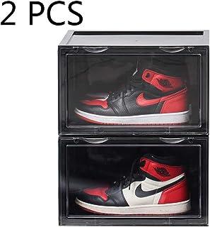 K.T.Z Shoe Storage Container Shoe Box Shoe Display Stackable Shoe display box Sneaker Box Stackable Clear for Men Women (D Style Black, 2 PCS)