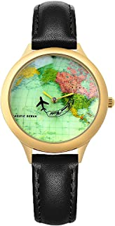 Vintage World Map Women's Causal Wrist Watches - fq001 Leather Strap Global Wristwatches for Lady