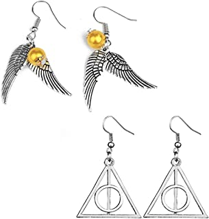Yellow Chimes Harry Potter Deathly Hallows and Snitch Ball Combo Alloy Base Metal Earrings - Harry Potter Movie Merchandis...
