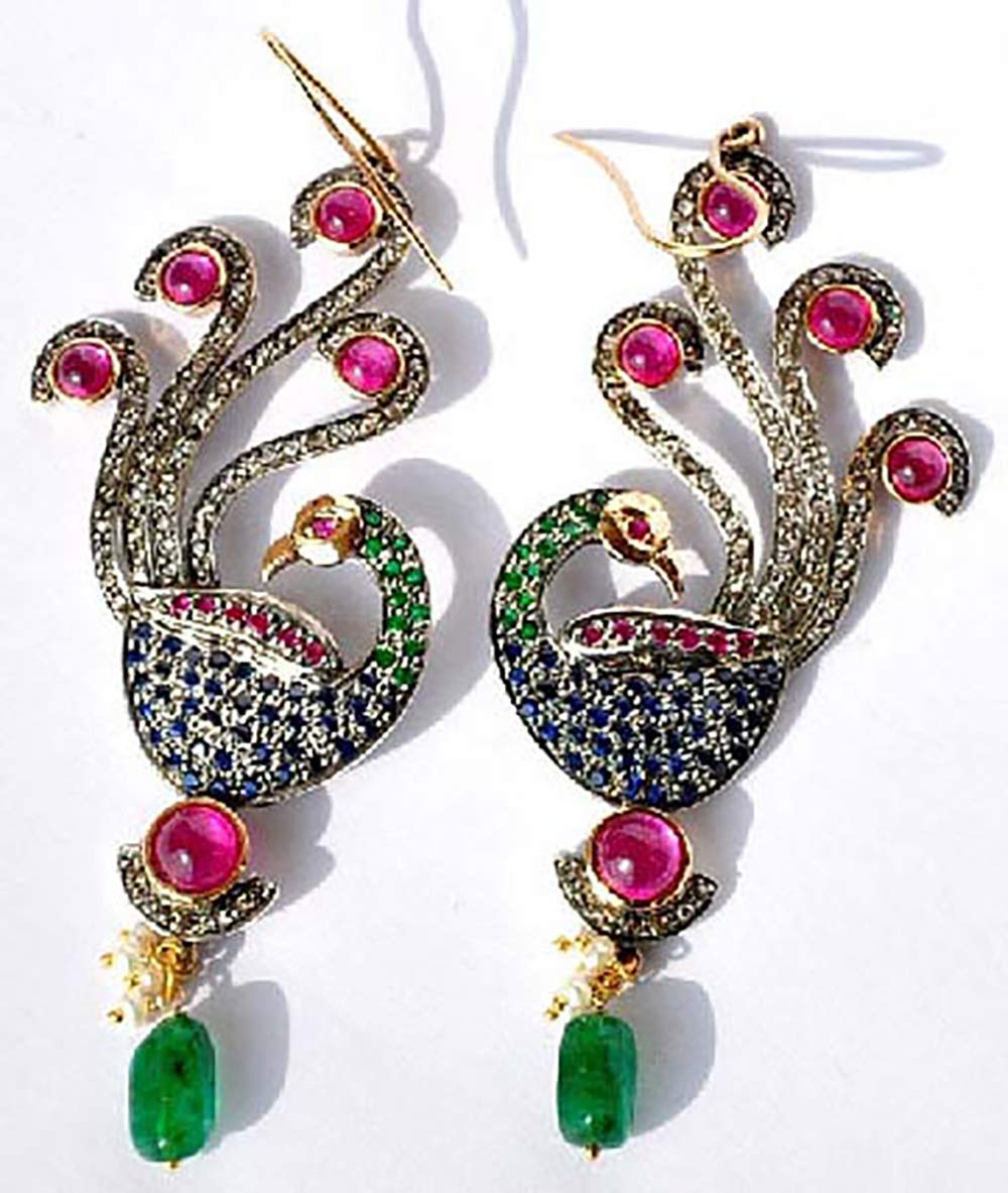 famous costozon All items free shipping polki earrings 10 Tcw emerald sapphire ruby Rose Cut