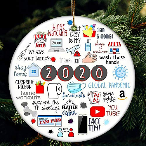 JSJOY Christmas Decorations, Ornament Xmas Tree Ornaments 2020 Holiday Decorations Family Christmas Hanging Ornaments for Christmas Tree Home Decor Xmas Gifts (Color C)
