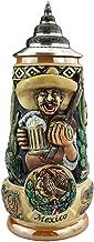 German Beer Stein Hispanic Themed Stein 0.5 liter tankard, beer mug, cobalt, hand-painted, with pewter lid