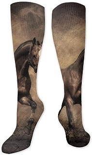 Calcetines de poliéster y algodón por encima de la rodilla, retro, unisex, para muslo, cosplay, botas largas, para deportes, gimnasio, yoga, caballo, búsqueda completa