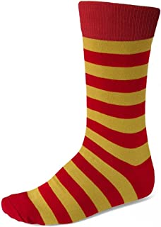 red and yellow striped socks