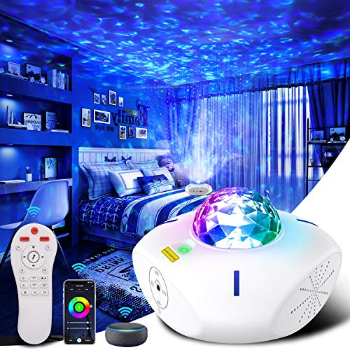 Galaxy Projector Night Light Projector Galaxy Globe Projector with Alexa Google Assistant Galaxy 360 Pro Projector with Bluetooth Speaker Star Projector Ocean Wave Projector for Kids Adults Bedroom