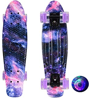 Skateboards Complete Starry Sky Skateboard with LED Wheel Smooth Durable Safe for Kids Boys Girls Youths Teens Beginners P...