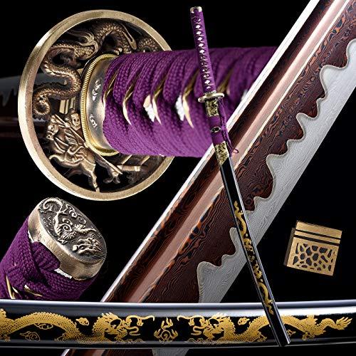 entez Battle Ready Katana,Handmade Samurai Sword,Full Tang 1095 Sword Katana,Damascus Folded...