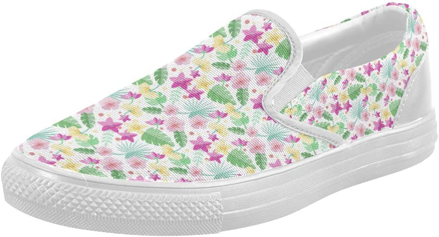 HUANGDAISY shoes Tiny Palms Pink Monogram Slip-on Canvas Loafer for Women