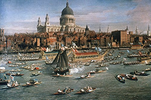 Canaletto Thames 18Th C Ndetail Of The Painting The River Thames With St PaulS Cathedral On Lord MayorS Day Oil On Canvas By Giovanni Antonio Canaletto C1750 Poster Print by (18 x 24)