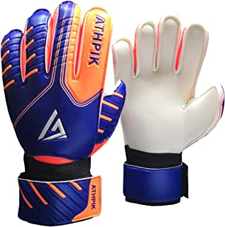 Kids & Youth Soccer Goalkeeper Gloves, Junior Indoor & Outdoor Goalie Gloves with Finger Spines Protection and Strong Grip for Girls and Boys, Size 5, 30 Days Warranty