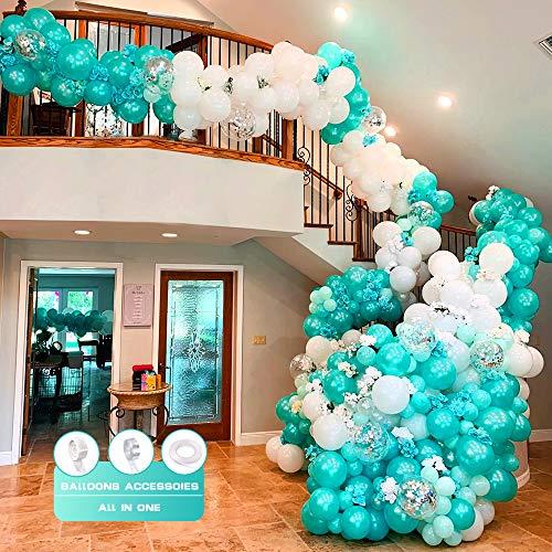 Dreamy Blue Balloon Garland Kit Arch, Dreamy Blue White Globos de látex Globos de confeti plateados con flores artificiales para Baby Shower Cumpleaños Decoraciones para bodas