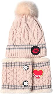 Lumsinker 2 Pcs Stars Knitted Hats Scarf Set Chunky Warm Winter Kids Beanie Hat