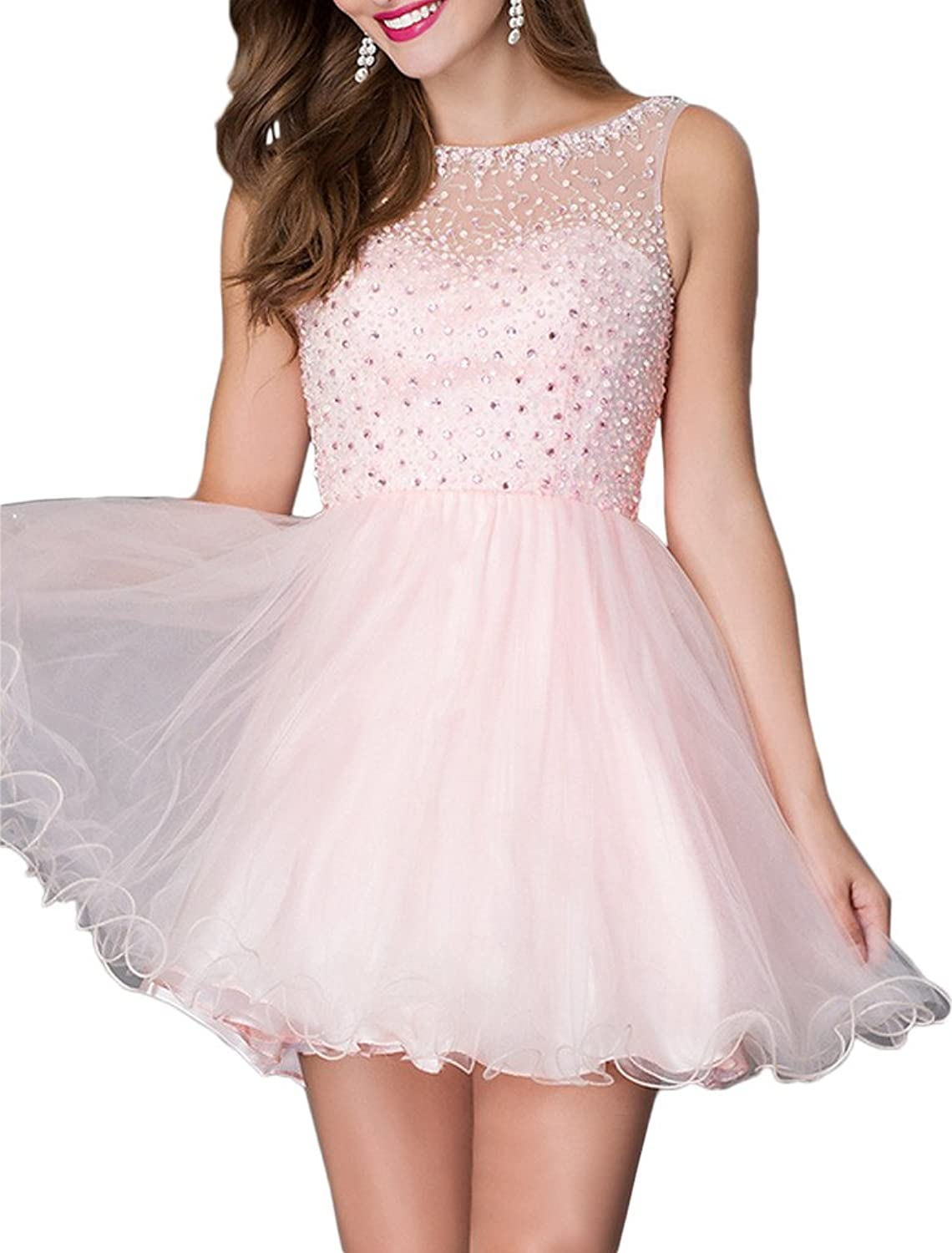 Avril Dress Pretty Sleeveless Beaded Backless Lace Prom Homecoming Dress Mini