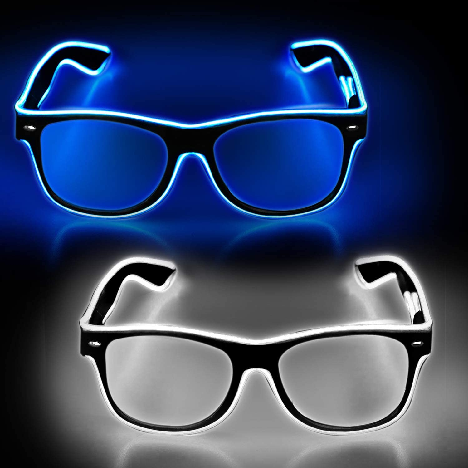 Concert with EL Wire Flashing and Blinking Modes EDM Disco YouRfocus 2 Packs Light Up Rave Glasses Blue and Pink LED Sunglasses for Halloween Christmas Party