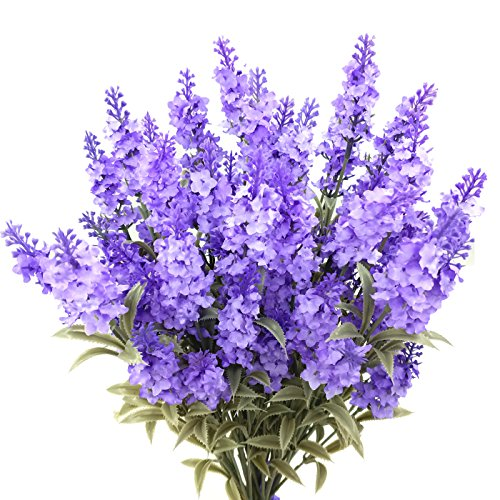 Guagb Artificial Lavender Silk Flowers Plastic Fake Plant Make a Bountiful Flower Arrangement Decor Your Outdoor Indoor House (12 Pieces)
