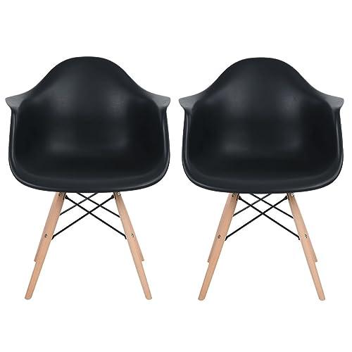 EGGREE Lot de 2 Scandinave Chaises de Salle à Manger Chaise de Salon Chaises de Café Les Fauteuils Lounge Fauteuil de Bureau Meubles - Kohler,Noir