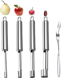 DBAILY 4 Pièces Vide-Pomme en Acier Inoxydable avec Poignée + 20 Pièces Fourchette à Fruits en Acier Inoxydable pour la Ma...