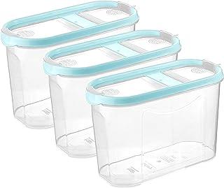 Schüttdosen für Müsli - Cornflakes - 3er Set - Vorratsdosen für Lebensmittel - Frischhaltedosen - Streudosen - 2 Aufklappbare Deckel - stapelbar - Spülmaschinenegeeignet 3, 1,4L - Babyblau