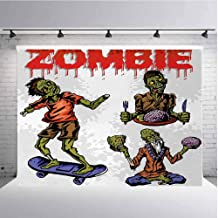 Zombie Photography Background Cloth Dead Man Eating Brain Cannibal Meditating Skate Boarding Graphic Pattern for Photography,Video and Televison 5ftx4ft Olive Green Red Dust