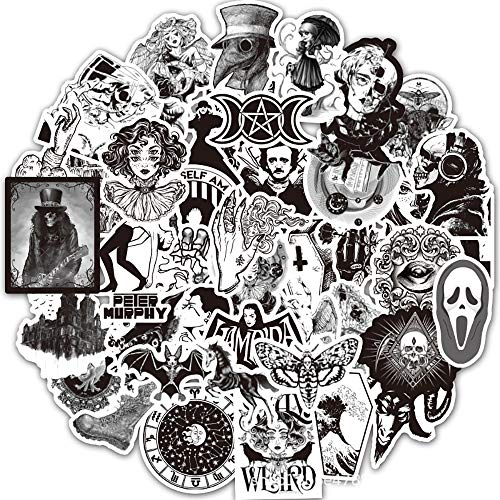 50 Pieces Gothic Stickers Pack, Black White Vinyl Graffiti Stickers for Kids Teens Adults, Waterproof Cool Cartoon Decal Sticker for Skateboard Laptop Motorcycle Bicycle Guitar