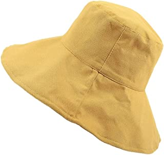 DIEBELLAU Women's Girls Fisherman Hat Tourist Dome Wild Double-Sided Large Bowl Cap Sun Hat (Color : Yellow, Size : XL)