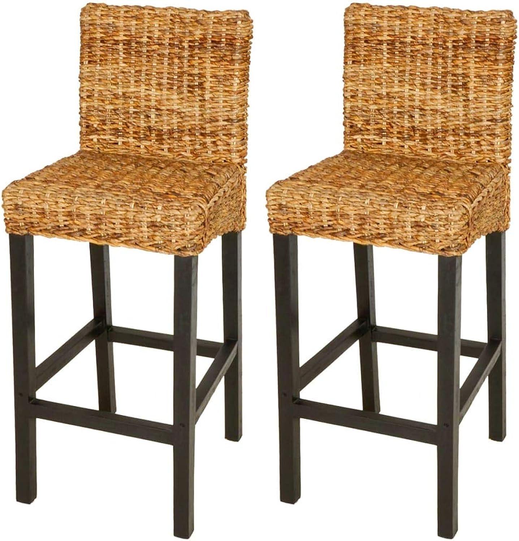 VidaXL 2pcs Brown Abaca Bar Stool Chair Mango Wood Frame Dining Room Kitchen