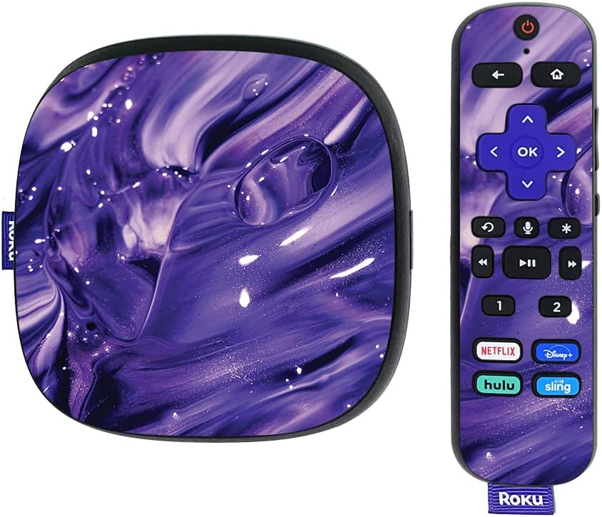 MightySkins Skin Compatible with Roku Ultra HDR 4K Streaming Media Player (2020) - Purple Wash   Protective, Durable, and Unique Vinyl Decal wrap Cover   Easy to Apply   Made in The USA