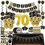 70 Anni Compleanno Decorazioni uomo donna - (76packs) black gold banner, bandierine, ghirlande, palloncini, tende, cupcake, piatti, accessori foto