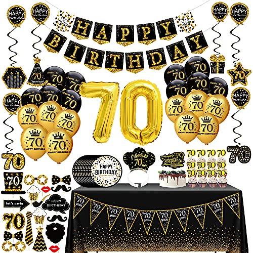70 Ans femme homme Décoration Fête Anniversaire - (76 pack) bannières black gold, ballons, nappes, cupcake, couronne, accessoires photo, Echarpe pour