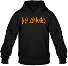 XIULUAN Men's Def Leppard Band Tour 2015 Def Vegas Logo Hoodied Sweatshirt Long Sleeve