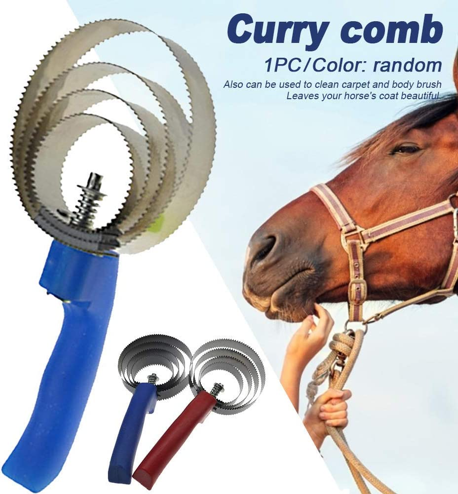 Curry Comb Horse Brush Reversible Stainless Steel Shedding Comb with Soft Touch Grip