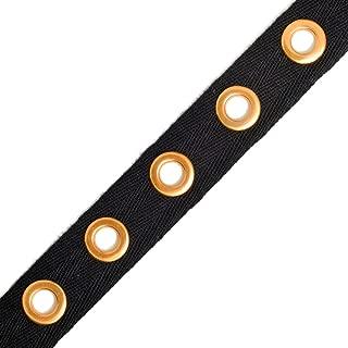 3-Yards Eyelet Twill Tape Trim, TR-11344 (Black/Gold)