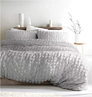 Nicole Miller Cottage Crinkled Ruched Pintuck Duvet Comforter Quilt Cover 3pc Set 100% Cotton French Country Style Puckered Shabby Chic Duvet Cover Gray Pink Grey (Queen, Grey)
