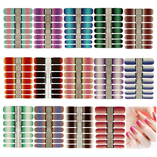 14 Sheets Nail Stickers Glitter Gradient Color Shine Full Nail Wraps Adhesive Nail Art Polish Strips Stickers Decals DIY Nail Design