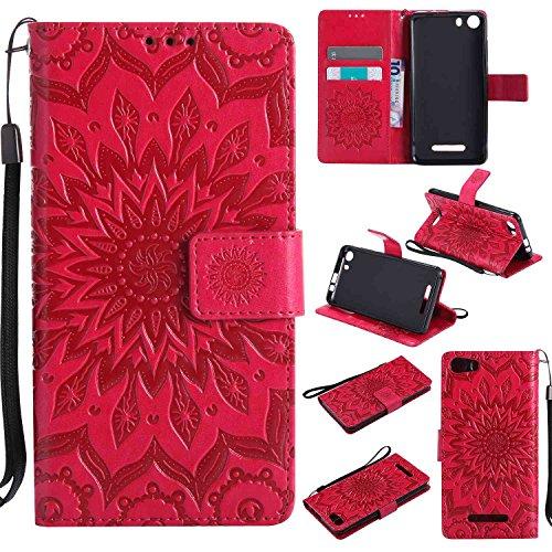 pinlu® PU Leder Tasche Etui Schutzhülle für Wiko Lenny 2 (5 Zoll) Lederhülle Schale Flip Cover Tasche mit Standfunktion Sonnenblume Muster Hülle (Rot)