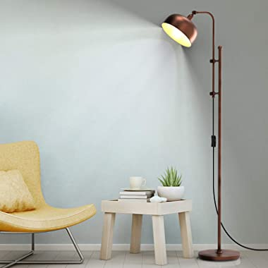 Tangkula Industrial Floor Lamp, 65.5 Inches Rustic Standing Lamp w/ Adjustable Height & Lamp Head, Farmhouse Reading Craf