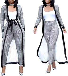Womens 2 Piece Print Outfits Clubwear Long Sleeve Open Cardigan Pants Set