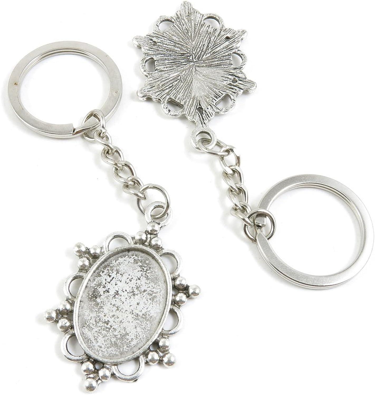 120 Pieces Fashion Jewelry Keyring Keychain Door Car Key Tag Ring Chain Supplier Supply Wholesale Bulk Lots Z0IB6 Oval Cabochon Base Blank 25x18mm
