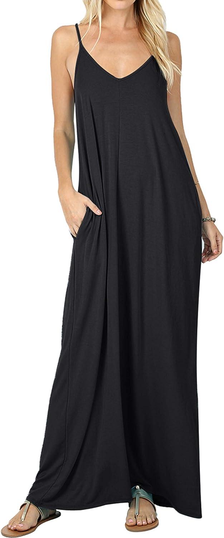 CALIPESSA Women's Summer Casual Plain Flowy Pockets Loose Beach Maxi Dress