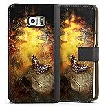 DeinDesign Samsung Galaxy S6 Edge Plus Étui Étui Folio Étui magnétique Tête de Mort & Papillon